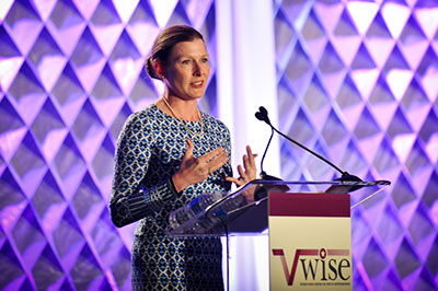 woman speaking at V-WISE conference