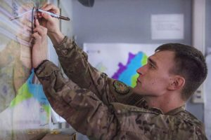 Service member drawing on map