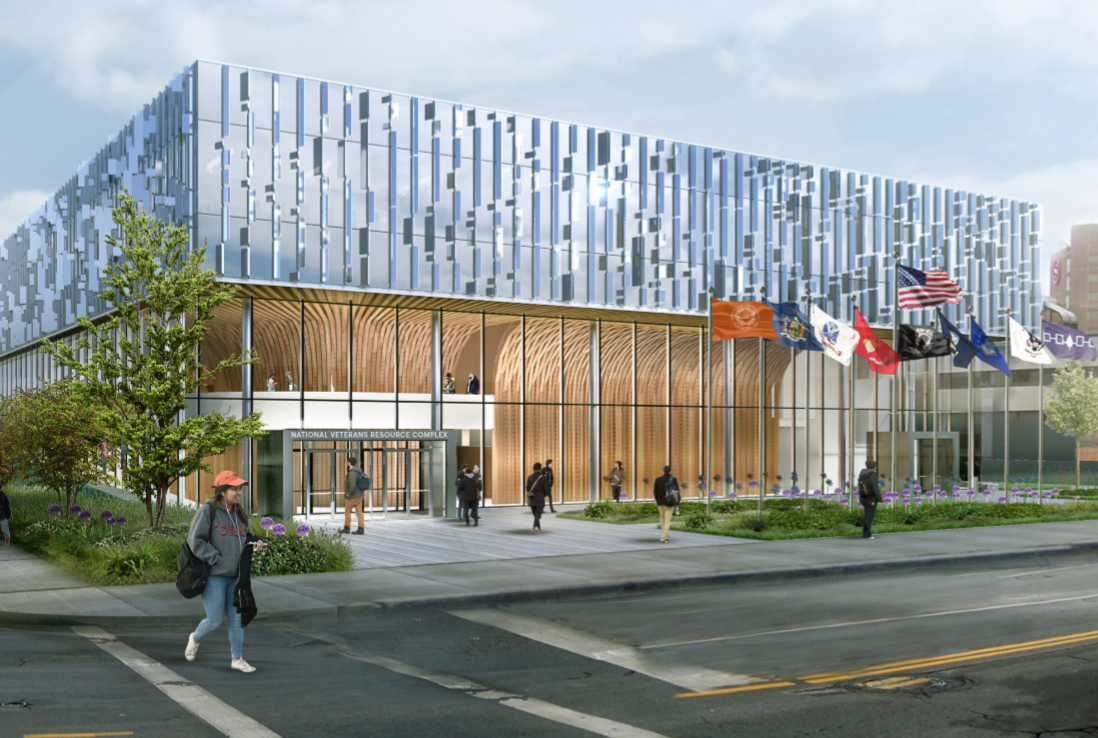 outside rendering of the national veteran resource center