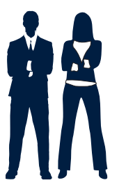 corporate man and woman icons