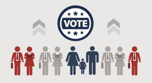 Icons representing people standing under a sign that says 'vote'