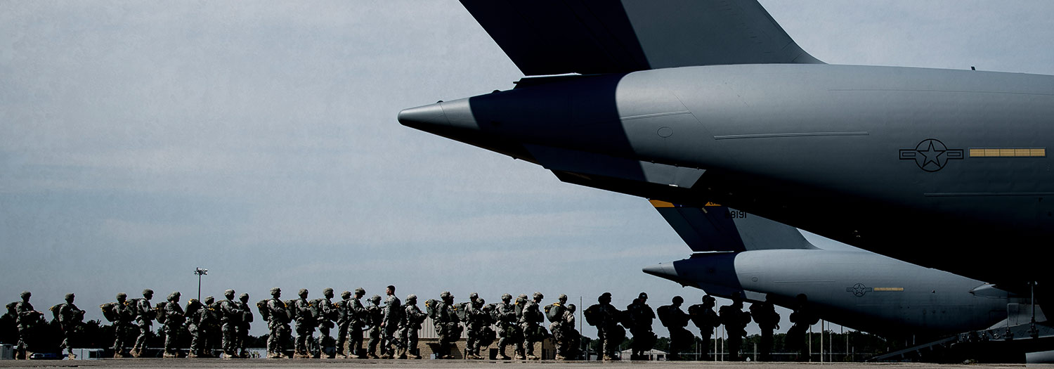 Soldiers boarding aircraft.