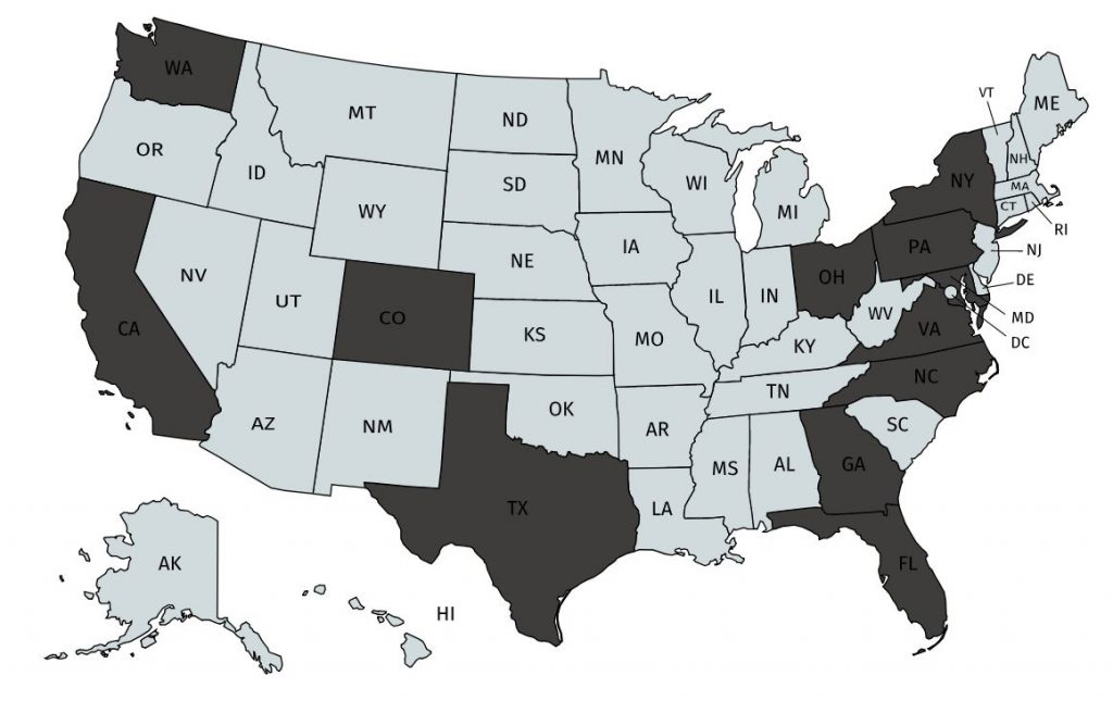 map of united states.