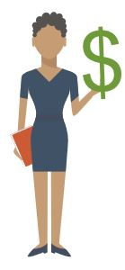 cartoon female holding dollar sign.