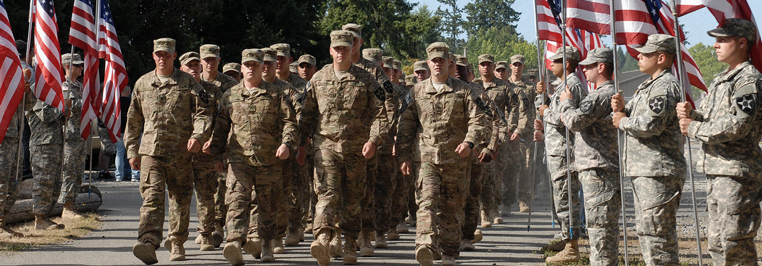 Soldiers performing marching exercises outside Joint Base Lewis-McChord