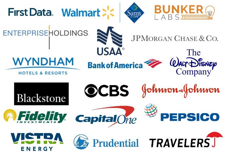 List of Company Logos: First Data, Walmart, Sam's Club, Bunker Labs, Enterprise Holdings, U.S.A.A., JP Morgan chase & Co., Wyndham Hotel & Resorts, Bank of America, The alt Disney Company, Blackstone, CBS, Johnson and Johnson, Fidelity Investments, Capital One, Pepsico, Vistra Energy, Prudential, and Travelers.