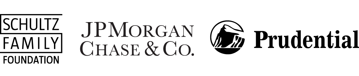 Logos of Schultz Family Foundation, JP Morgan Chase, and Prudential