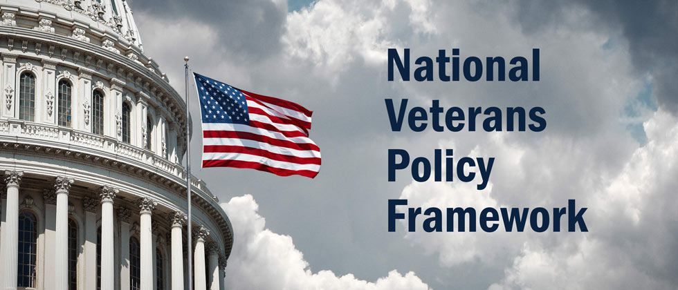 "Congress Building with Flag and text that reads ""National Veterans Policy Framework""."
