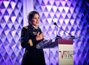 Female in military speaking at VWISE