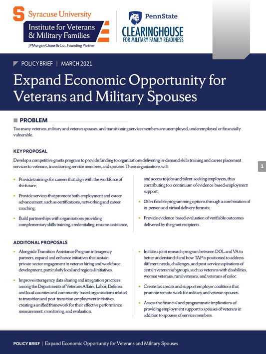Cover of the Expand Economic Opportunity for Veterans and Military Spouses brief