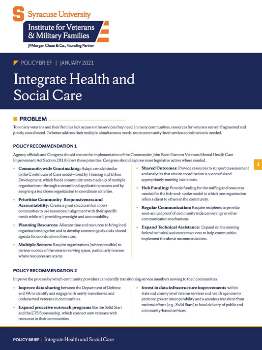 Cover of Integrate Health and Social Care brief